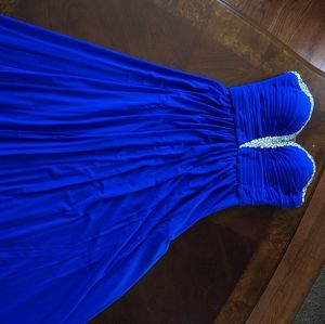 Blue Prom Dress with Beading Detail